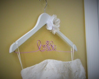 SALE - High Quality Wedding Dress Hanger with Shabby Chic Flower (Lace and Satin) Personalised Bridal hanger, Mrs hanger, Wedding Gift,