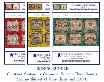 Blue Ribbon Designs - Christmas Sentiments - Bundle (All 3 Charts) - Cross Stitch Charts