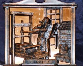 "Copper Craft Guild 3D Copper ""Printer"" Wall Hanging/Plaque"