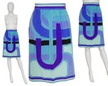 EMILIO PUCCI 1960s Vintage Printed Silk Skirt Turquoise Blue Purple 100% Silk Signature Print Size 2-4 XS
