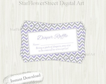 Diaper Raffle printable purple gray grey insert card ticket girl baby shower chevron cards printable instant download game lavender