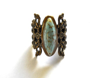 Vintage STATEMENT  RING  Ornate Floral Work and Turquoise Striated Glass Stone 1960s