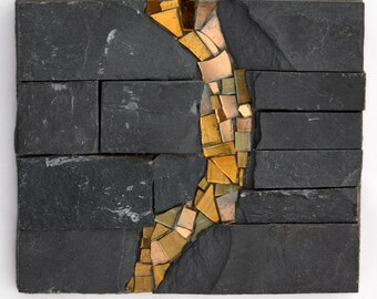 Slate Abstract #3 (Mosaic in Stone and Glass)