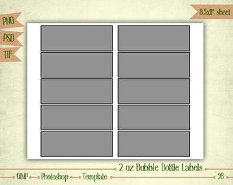 2 oz Bubble Bottle Labels - Digital Collage Sheet Layered Template - (T098)
