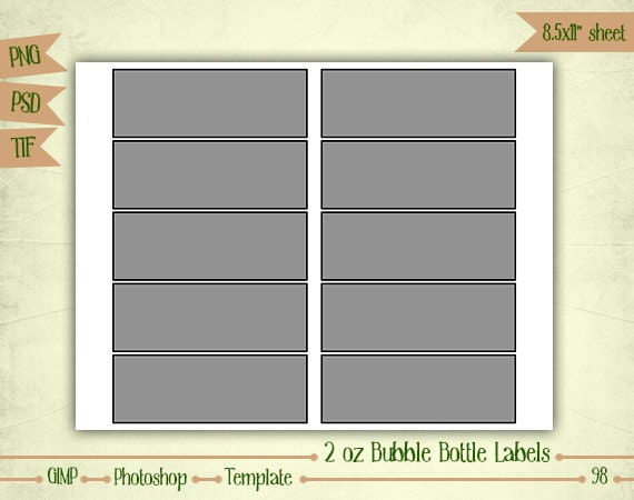 bubble bottle label template - 2 oz bubble bottle labels digital collage sheet layered