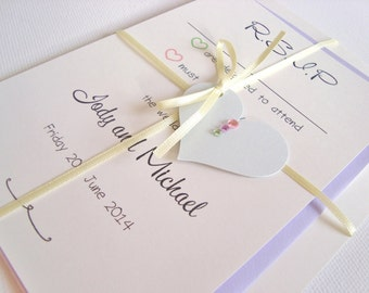 Personalised Handmade Diamanté/Pearl Heart Ribbon Tied Wedding Invitation and RSVP Sample