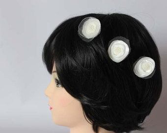 Bridal bobby pins, hair accessories, ivory fabric flowers