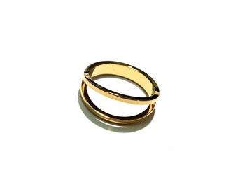 1 Gold Split Ring, Double Ring, Gold Ring