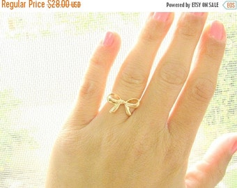 VALENTINES DAY - Bow gold ring, Ribbon ring, Bow ring, Gold ring, Best friends ring, Forget me knot ring, size 5.5