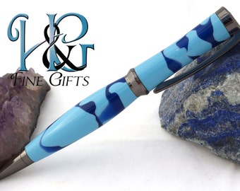 Blue camouflage pen with concave cut in dark setting, acrylic pen, blue camo, handcrafted pen in swirling blue gun metal setting, blue pen