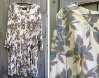 Vintage dress | Carole Little 90s pastel floral long sleeve skater skirt rayon dress