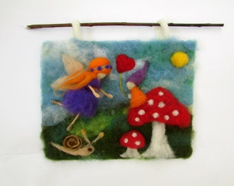 Needle Felted Picture,tapestry,waldorf inspires,Gnome on Mushroom with Fairy.READY TO SHIP.