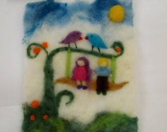 Needle Felted Picture,tapestry,waldorf inspired,Friends on the swings,Gift idea.