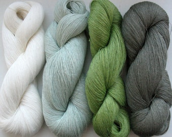 Linen Yarn Gray Moss Green White 400 gr (14 oz ), Cobweb / 1 ply, each hank contains approximately 3000 yds