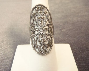 Sterling Silver Oblong Marcasite Ring Sz.7 R97