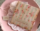 "Tea Favors VINTAGE ""English Rose"" Tea Favors-: Customized High Tea Bridal Tea Wedding Favor"
