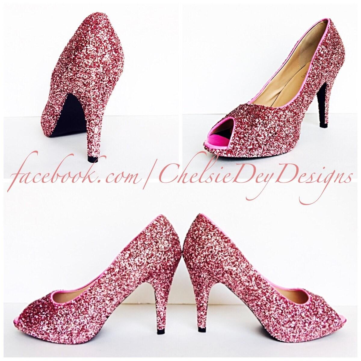 Glitter High Heels Light Baby Pink Open Peep Toe Pump