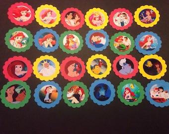 24 The little mermaid Ariel Cupcake topper