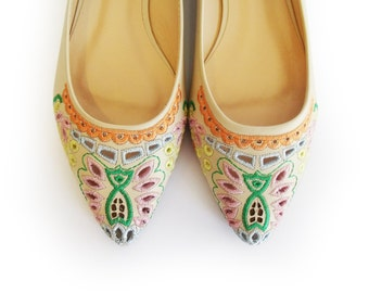 Flat shoes, Boho women's shoes, Ballerina shoes, Nude shoes, Cream flats,  Floral shoes, Leather shoes, Embroidered shoes
