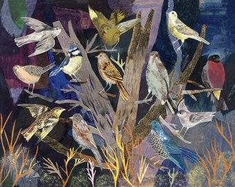Bird illustrated art print, The Birds (A Diorama) A3 Print (16.5 x 11.7 in)