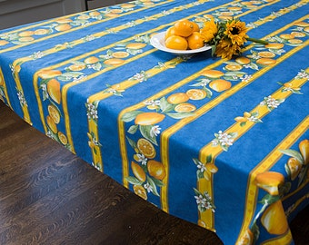 Cotton Square  tablecloth . Fabric from Provence, France .Lemons in blue up to 61'' by 61''