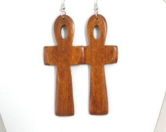Wood Natural Earrings Cross