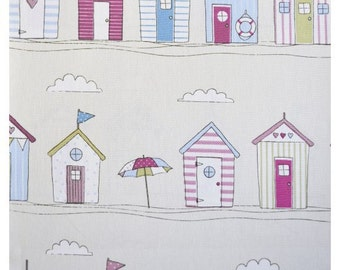 Beach Huts pink pastel colours nautical seaside ocean fabric 100% Cotton Upholstery Curtain Fabric UK Design