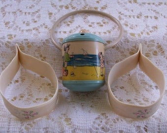 Antique Celluloid Baby Rattle and Blanket Clips