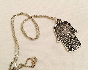 Silver Hamsa Hand Necklace, Antique Silver Necklace, Boho jewelry, Necklace, Protection pendant, Good Luck Necklace, Easter Gifts