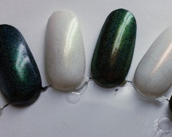 Mythological Holographic Top Coat Trio 5mL Phoenix Song Dragon Song Unicorn Song Dochrome Color Shifting Holo Indie Nail Starlight Polish