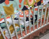 Lavender Linens Zoe Geometric Girl Crib Bedding in Coral, Peach, Mint, Navy, Gold,Shower Gift. Set options and prices listed below.