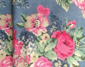 """1/2m Cath Kidston. Cotton Upholstery Fabric. Bloomsbury Bouquet in Mid Denim Blue.  (19"""" x 57"""") Heavy Canvas. Bag Making Supplies."""