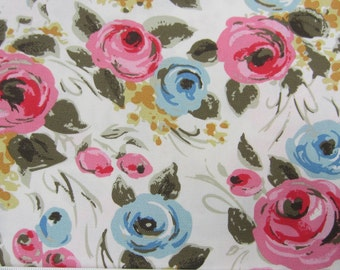 """1m Cath Kidston. Cotton Upholstery Fabric. Duck Cloth. Painterly Rose on White. 145cm Wide. (39"""" x 57"""") Heavy Canvas."""