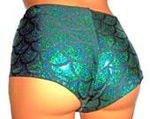 Mermaid Booty Shorts, Festival Clothes, Sexy Mermaid Cheeky Pants, Shiny Leggings, Mermaid Rave Shorts, Mermaid Festival Shorts