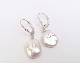 Keshi Pearl and crystal earrings