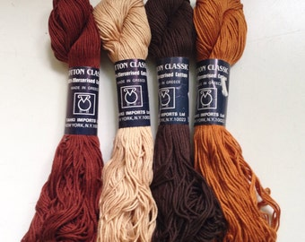 40% Off 4 Tahki Classic Cotton Yarn DK Mercerized Browns and Neutrals 432 Yards