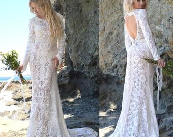 Vintage Sheer Crochet Lace Back Cut Out Hippie Boho WEDDING Maxi Dress With Mini Train