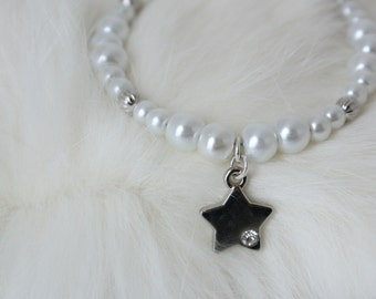 Flower Girl Jewelry - Silver Star Charm - Pearl Bracelet - Flower Girl Gift - Charm Bracelet - Layla