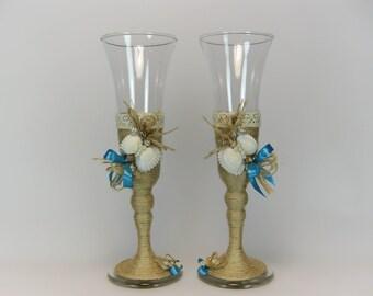 Rustic Style Wedding Glasses, Seashells Decorated, Rustic Wedding, Beach Wedding, Toasting Flutes, Champagne Glasses, Wine Glasses