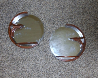 Pair of Mirrored Round Wall Shelves Wood Knick Knack Dispaly Scroll Products Rockford Illinois