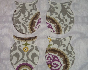 Set of 4 Shabby Owl Silhouette Shaped Coasters~Gray/Brown Medallion
