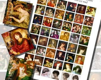 Dante Gabriel Rossetti's Victorian Beauties Printables, ONE INCH SQUARES (25 mm), 48 Paintings Included