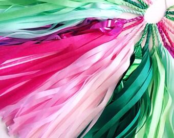 Watermelon Splash Tassel Garland - Pink, Green Tissue Paper Garland - Watermelon Party Decoration // Watermelon Birthday // Summer Party