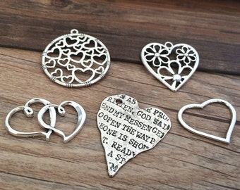 10pieces Mixed Style  Antique silver Heart Charm   -  antique silver charm pendant  Jewelry Findings
