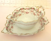 Antique Limoges Gravy Boat or Sauce Condiment Bowl w/Under Plate - Pink Rose Garland and Gold  |  Bawo & Dotter Elite | Circa 1896-1920
