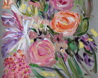 """SALE! Small Abstract Flower Painting, Wedding bouquet, 12"""" x 16"""" on Linen, Original painting"""