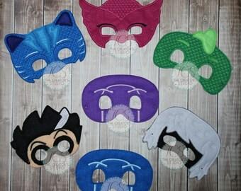 PJ Masks - Catboy, Gekko, Owlette - Disney Jr - Dress up - Birthday Party Favors - Pretend Play