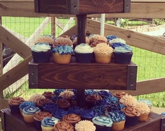 Cupcake stand, industrial, wood, rustic wedding dessert display.