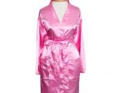 Pink Satin Robe, Personalized Wedding Robe, Bridesmaid Robes, Bridesmaid Gifts, Kimono Robe, Wedding Satin Robe, Pink Robes