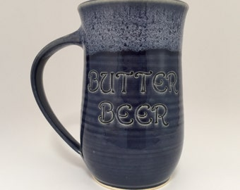 Large Butterbeer Navy Blue and White Beer and Coffee Mug